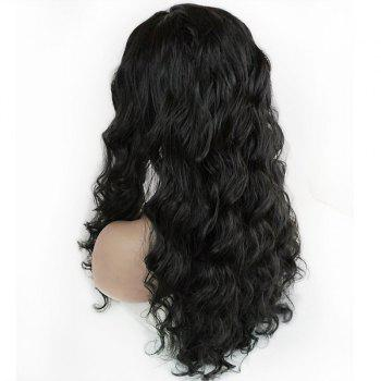 Long Shaggy Free Part Body Wave Lace Front Synthetic Wig - BLACK