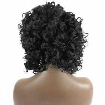 Free Part Shaggy Short Curly Lace Front Synthetic Wig - BLACK