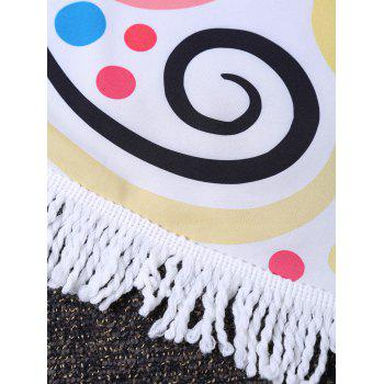 Hearts Print Circle Fringed Beach Throw - multicolorcolore ONE SIZE