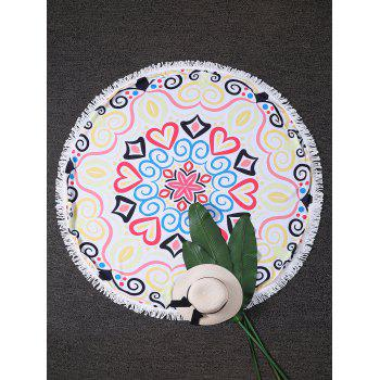 Hearts Print Circle Fringed Beach Throw