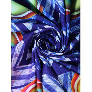 Round Peacock Plume Print Beach Throw with Fringes - multicolorcolore ONE SIZE
