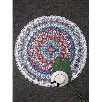 Sunbath Round Lotus Print Fringe Beach Throw