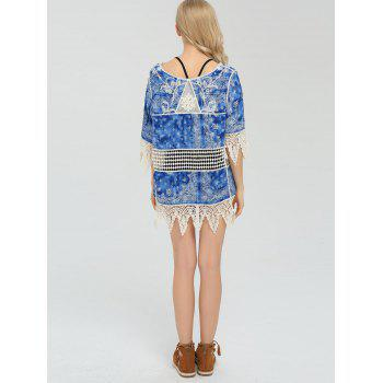 Crochet Lace Trim Paisley Beach Cover Up - Bleu ONE SIZE