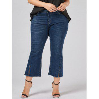 Frayed Hem Plus Size Boot Cut Jeans