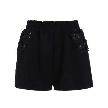 Stereo Floral Elastic Waist Plus Size Mini Shorts