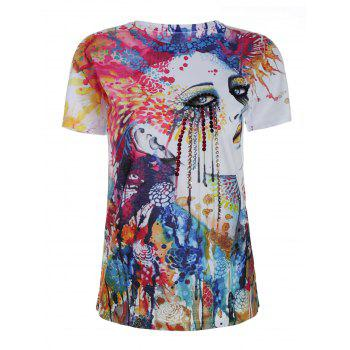 Beaded Short Sleeve Graphic Print T Shirt