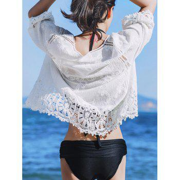 Crochet Lace Panel Beach Cover Up Cardigan - Blanc ONE SIZE