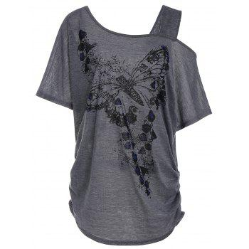 Skew Collar Butterfly Print Plus Size Tunic Top