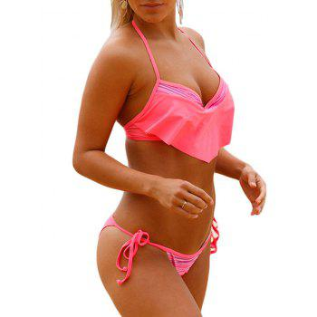 Ensemble de bikini à col roulé Ruffle Halter Push Up - ROSE PÂLE 2XL