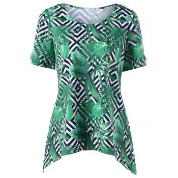 Round Neck Tropical Leaf Print T-shirt