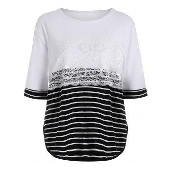 Plus Size Stripe Block Lace Layered Basic T-shirt