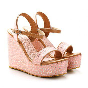 Plaid Pattern Wedge Heel Sandals