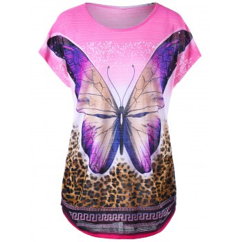 Butterfly and Leopard Curved Hem T-shirt