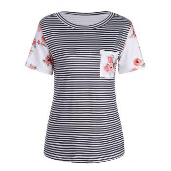 Short Sleeve Rose and Stripe Print T-Shirt