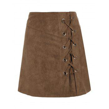 High Waist Lace Up Suede Mini Skirt