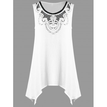 Crochet Appliqued Crinkle Tank Top
