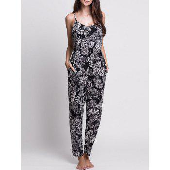 Printed Lace-up Cami Jumpsuit