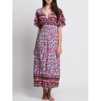V Neck Floral Long Bohemian Dress