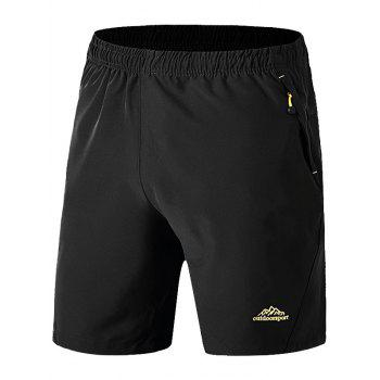 Zip Pockets Graphic Embroidered Shorts
