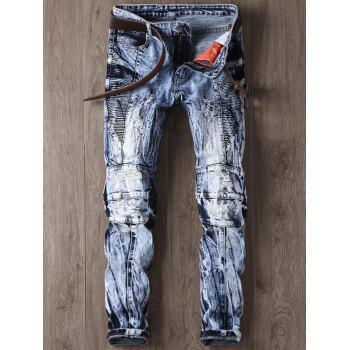 Faded and Tie Dye Panel Narrow Feet Ripped Jeans