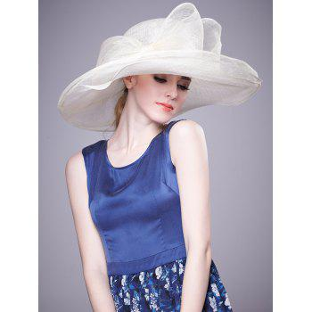 Layered Wide Brim Cambric Bowknot Banquet Hat