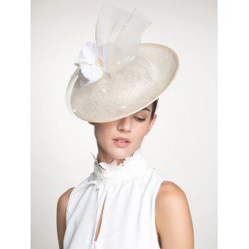 Feather Flower Mesh Cambric Piece Cocktail Hat - IVORY WHITE IVORY WHITE