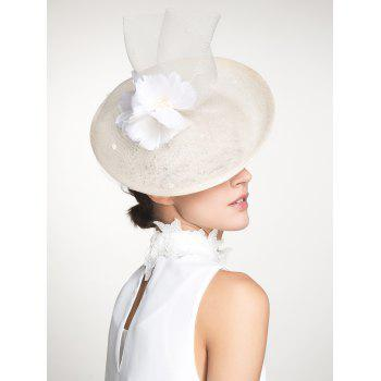 Feather Flower Mesh Cambric Piece Cocktail Hat -  IVORY WHITE