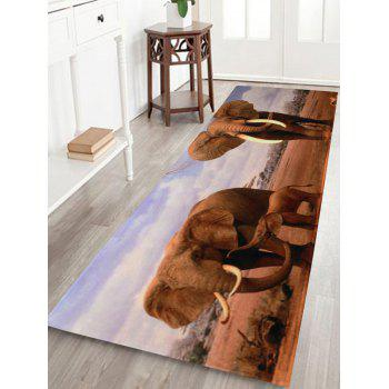 African Elephant Soft Coral Fleece Floor Bath Rug