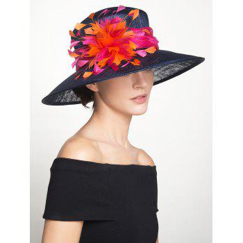 Vintage Muliticolor Feather Florwer Cambric Ribbon Hat -  ROYAL