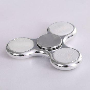 Electroplated Fidget Spinner with 18 Patterns LED Light -  SILVER