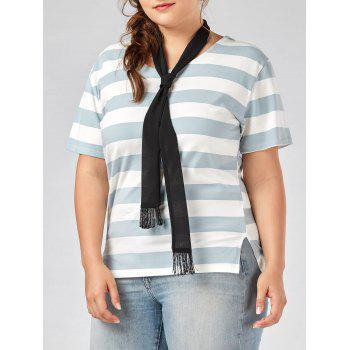 Plus Size Round Neck Stripe Tee with Scarf