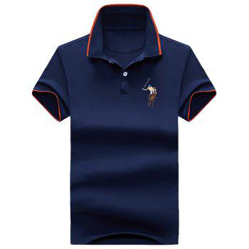 Embroidery Half Button Ringer Polo Shirt