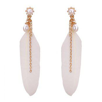 Faux Pearl Feather Earrings