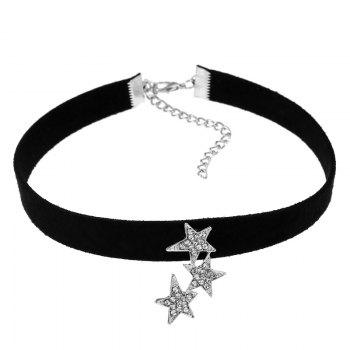 Rhinestoned Stars Choker Necklace