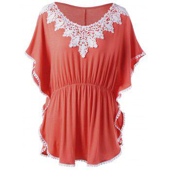 Plus Size Elastic Waist Butterfly Sleeve Top