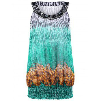 Beaded Plus Size Printed Sleeveless Top