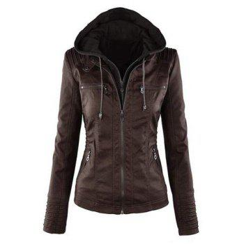 Drawstring Detachable Hooded Faux Leather Jacket