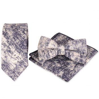 Necktie Handkerchief Bowtie with Striation Printed - CADETBLUE CADETBLUE