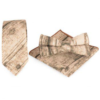 Necktie Handkerchief Bowtie with Striation Printed
