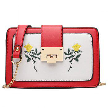 Lock Closure Floral Embroidery Crossbody Bag