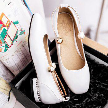 Square Toe Faux Pearl Flat Shoes - Blanc 38