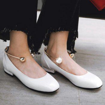 Square Toe Faux Pearl Flat Shoes
