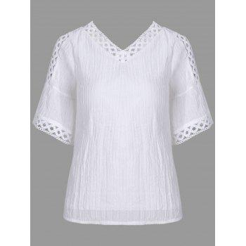 Bell Sleeve Cold Shoulder Lace Insert Blouse