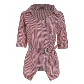 O Ring Belted Striped Blouse