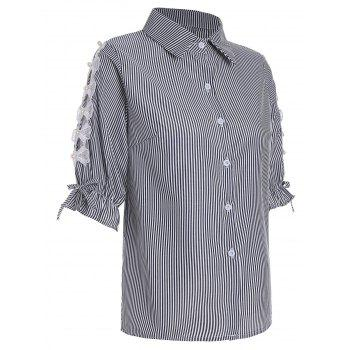 Pinstripe Beaded Button Up Shirt