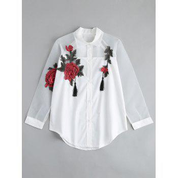 Floral Embroidered Tassel Button Up Shirt