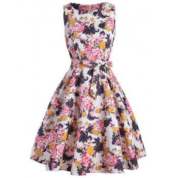 Floral Sleeveless Fit and Flare Vintage Dress