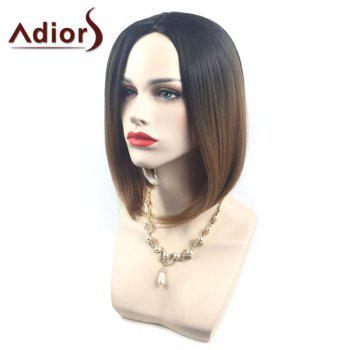Adiors Center Parting Ombre Straight Short Bob Synthetic Wig
