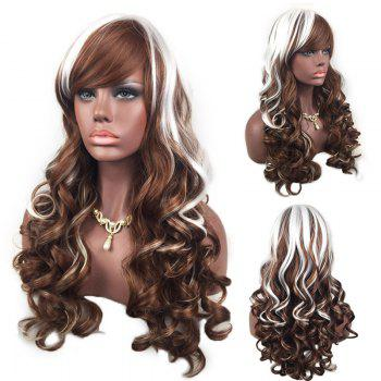 Adiors Oblique Bang Highlight Layered Shaggy Long Curly Synthetic Wig