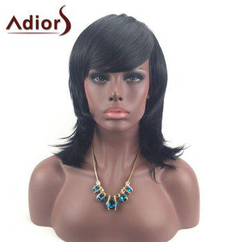 Adiors Medium Tail Upwards Side Bang Layered Silky Straight Synthetic Wig